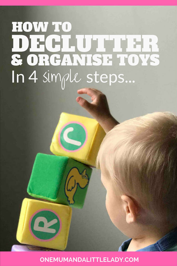 Learn how to organise and declutter toys in a childs bedroom or playroom with this super simple, but really effective 4 step guide!